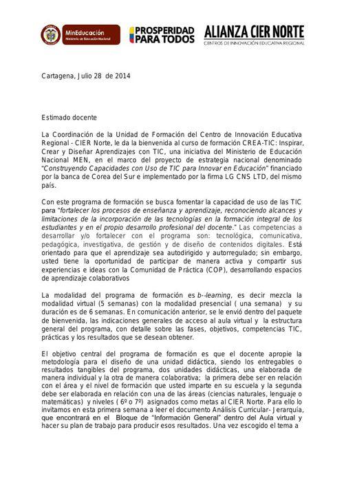 Carta de Bienvenida UDF a Docentes Lideres a Formación CREATIC