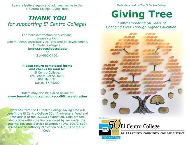 El Centro College 50th Anniversary: Giving Tree