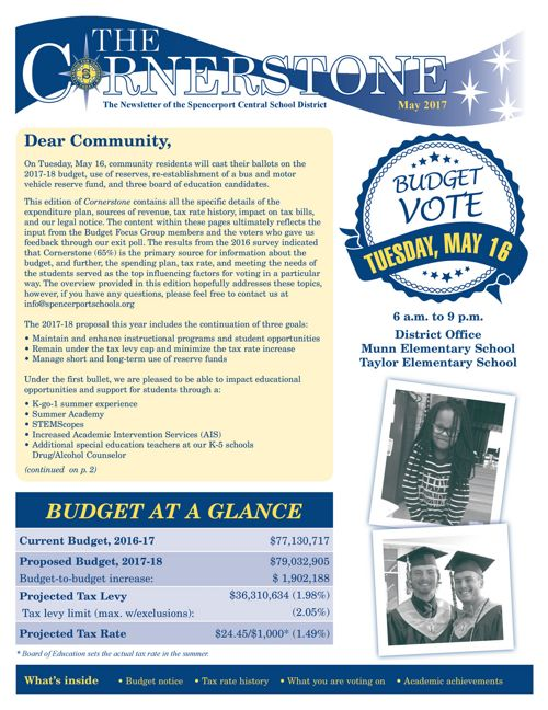 Cornerstone, May 2017 budget edition
