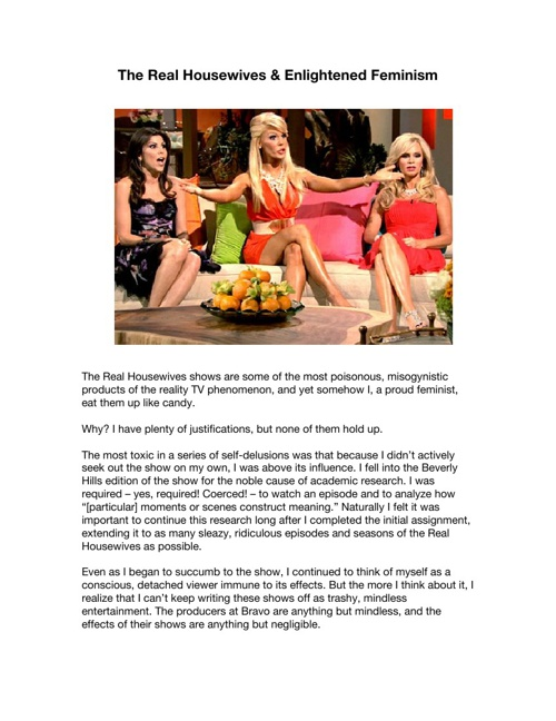 Repurposing - The Real Housewives & Enlightened Sexism