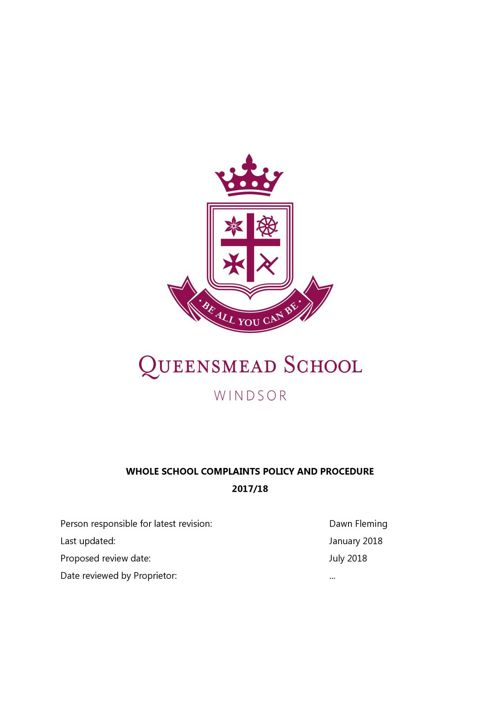 Queensmead Complaints Policy and Procedure 2017-18