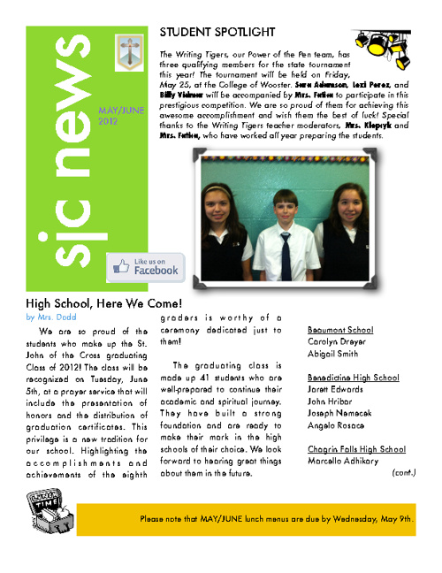 May / June 2012 Newsletter
