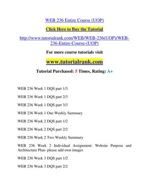 WEB 236 Slingshot Academy / Tutorialrank.Com