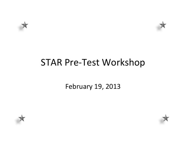 STAR Writing Training