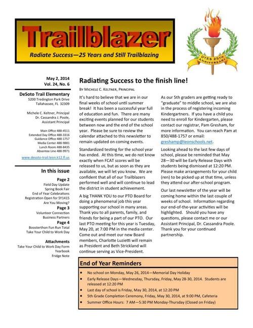 May Trailblazer Newsletter