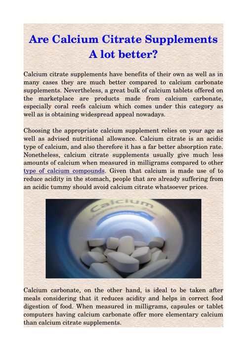 Are Calcium Citrate Supplements A lot better