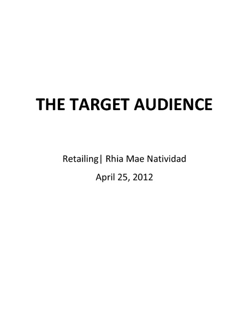 The target audience -