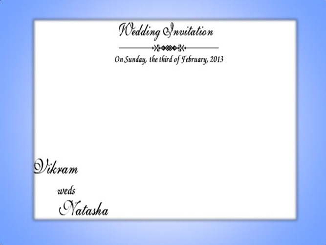 Vikram and Natasha's Wedding Invite