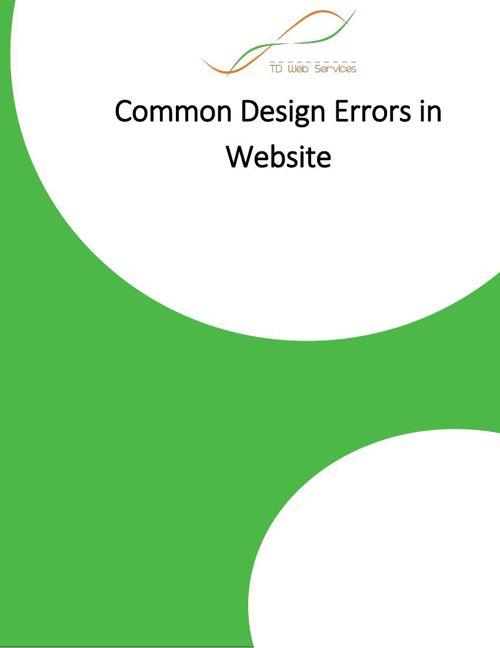 Common Design Errors in Website