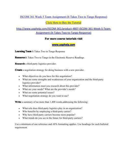 ISCOM 361 Week 5 Team Assignment