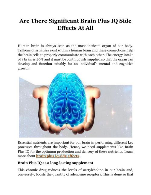 Are There Significant Brain Plus IQ Side Effects At All