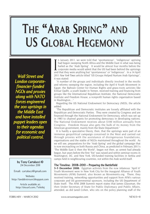 The Arab Spring & US Global Hegemony...