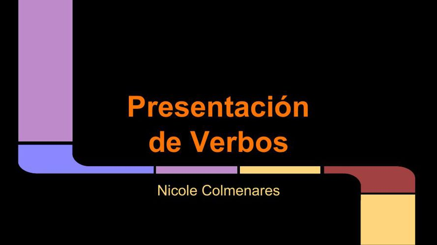 Presentation of Verbs