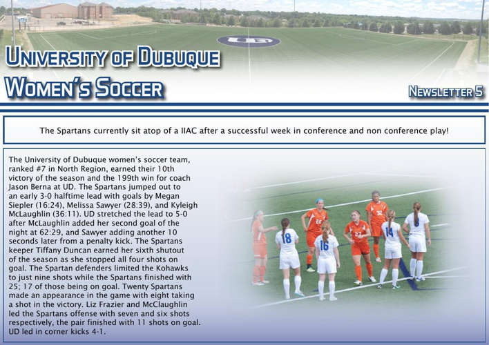 University of Dubuque Women's Soccer 2014 Newsletter: Issue 5