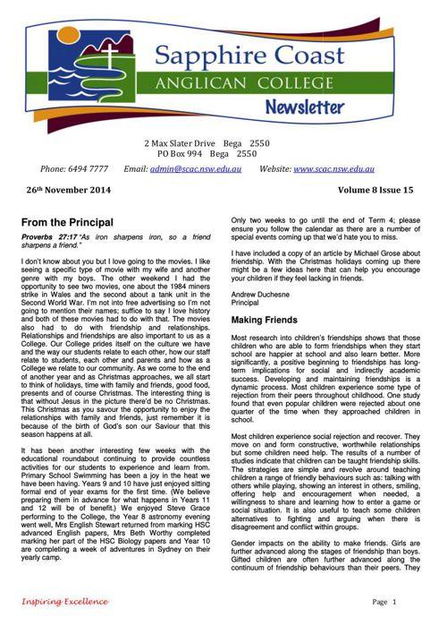 Newsletter Volume 8 Issue 15 2014