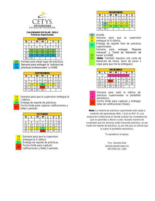 Calendario prácticas LPE. 2015-2