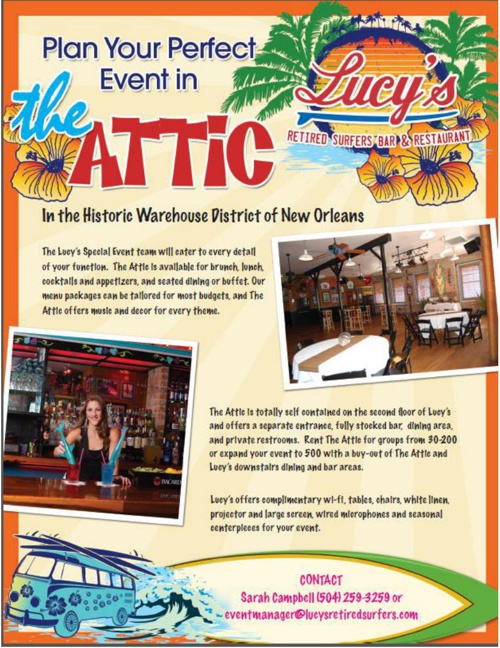 Have your party at Lucy's Retired Surfer''s Bar & Restaurant.  C