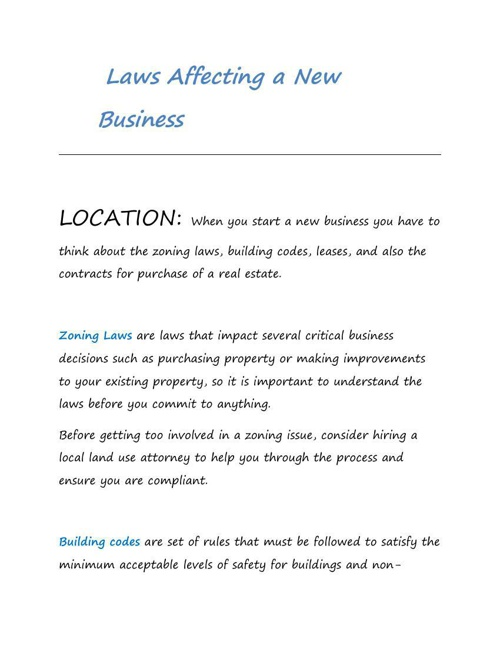 Laws Affecting a New Business