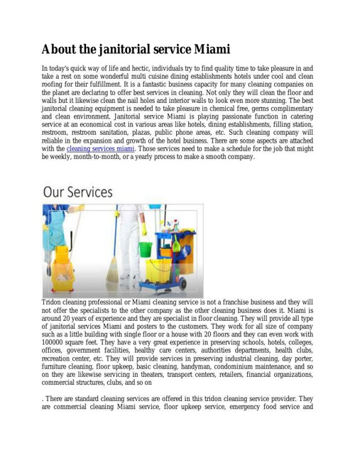 About the janitorial service Miam6