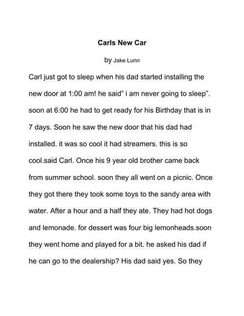 Carl's New Car