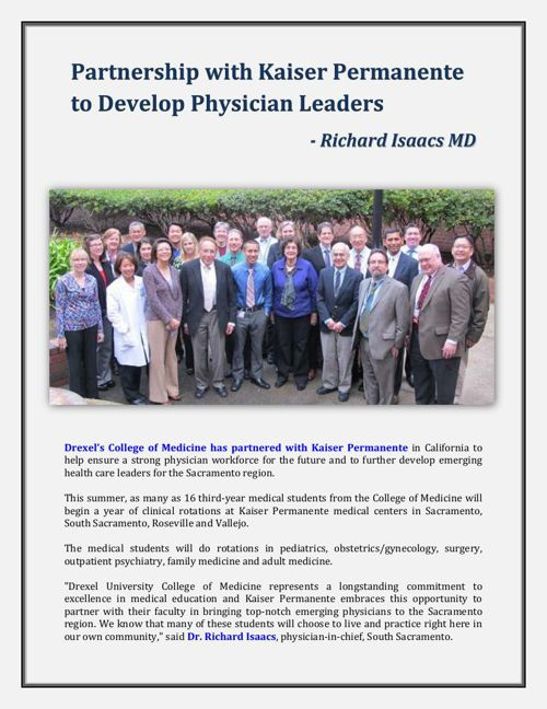 Partnership with Kaiser Permanente to Develop Physician Leaders