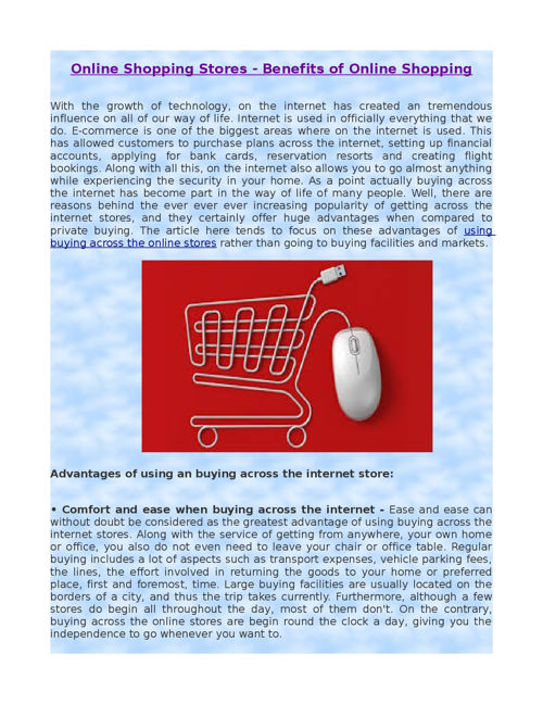Online Shopping Stores - Benefits of Online Shopping