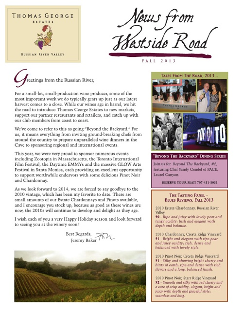 Thomas George Estates Newsletter - Fall 2013