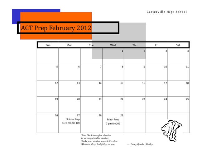 ACT Prep Calendar