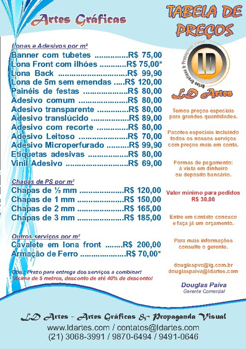 Tabela de Preços - LD Artes