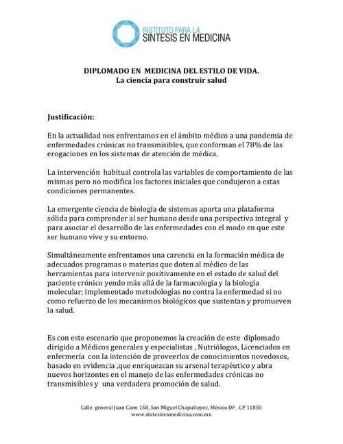 PROGRAMA DEL DIPLOMADO EN  MEDICINA DEL ESTILO DE VIDA