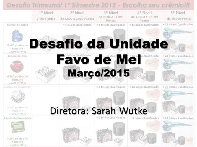 Desafio da Unidade Favo de Mel - Março/2015