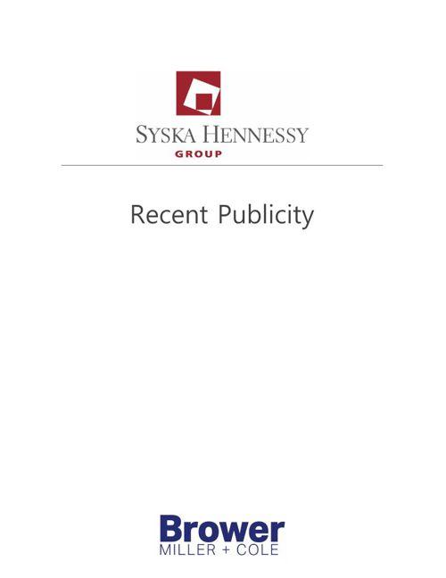 Syska Recent Publicity