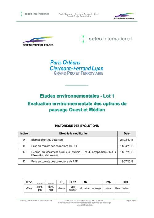 Evaluation environnementale des options de passage