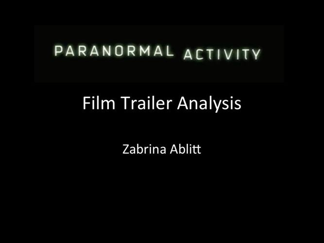 Paranormal activity film trailer analysis