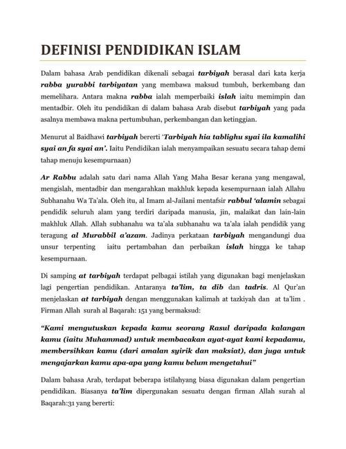Definisi & Tujuan Pendidikan Islam dari nota PPI