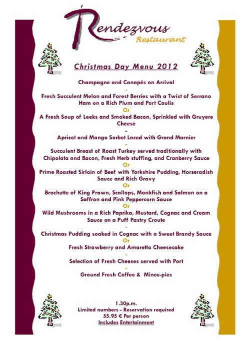 Christmas and New Year Menus for the Rendezvous Restaurant