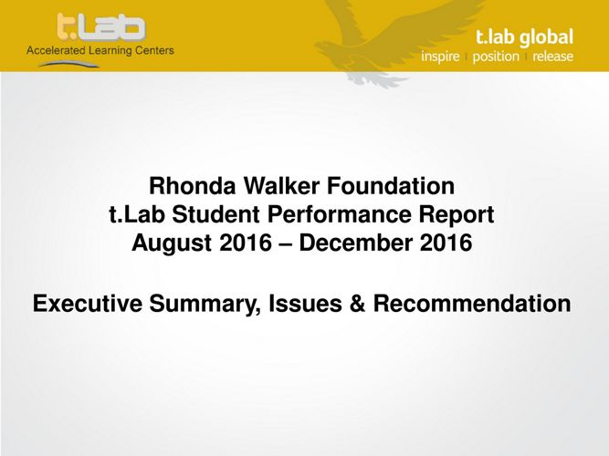 t.Lab RWF Performance Report_ August - December 2016