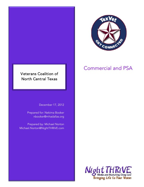 Veterans Coalition Commercial and PSA Proposal