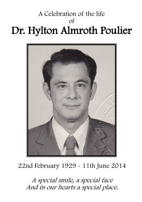 Small Order of Service for Dr. Hylton Almroth Poulier
