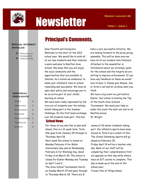 RAS Newsletter January 28, 2013