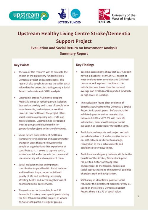 SROI Stroke and Dementia Support Evaluation Briefing Jul 15