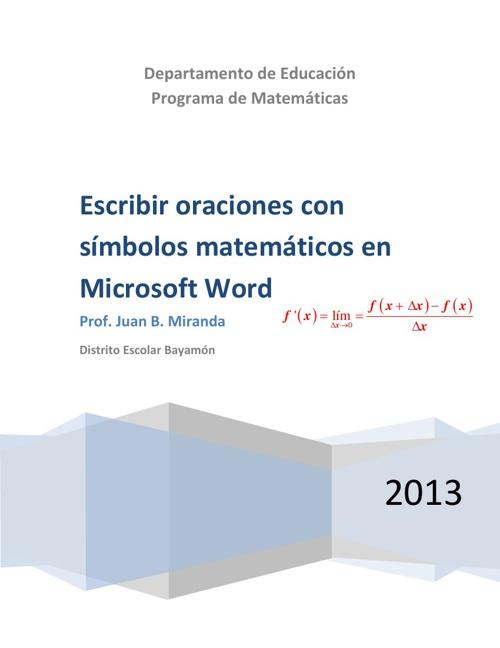 Escribir oraciones con símbolos matemáticos en Microsoft Word