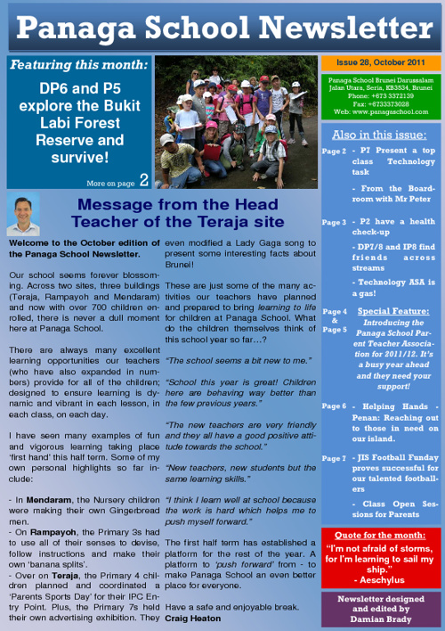 Panaga School Newsletter October 2011