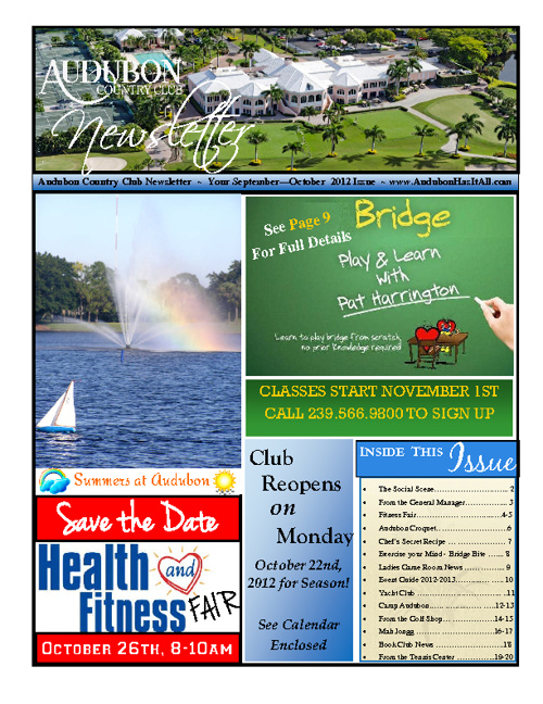 Audubon Country Club September - October 2012 Newsletter