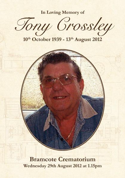 Tony Crossley - Order of Service