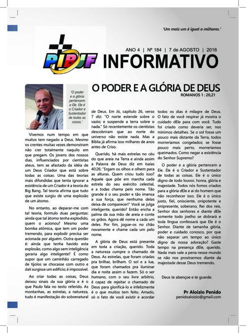 INFORMATIVO PIBJF 07.08.2016