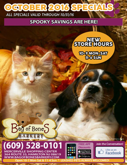October 2016 Sales & Specials - Bag of Bones Barkery