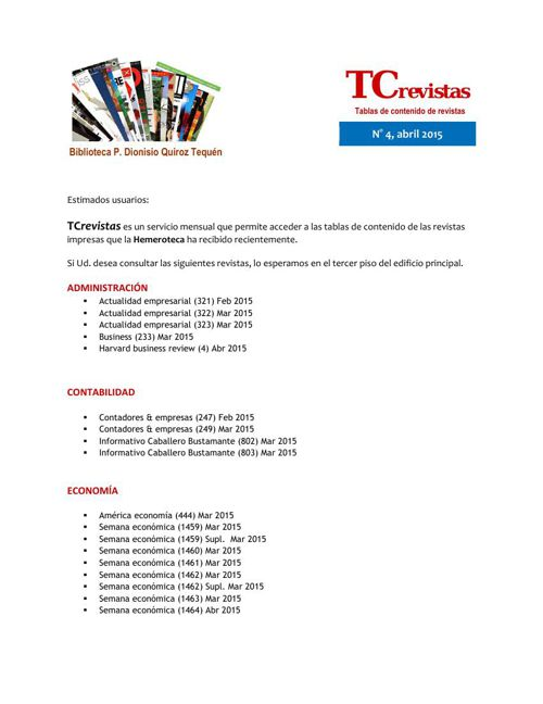TCrevistas N°4 abril 2015
