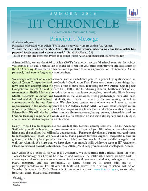 IIT Chronicle 2016- Summer