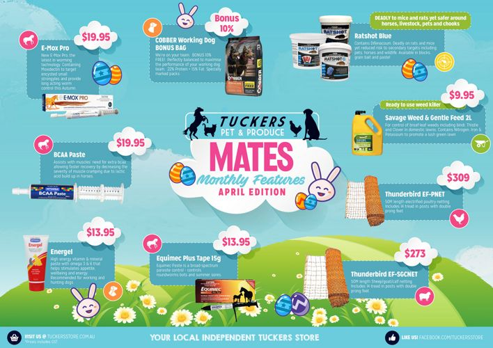 Tuckers Mates Monthly Features - April Easter Edition